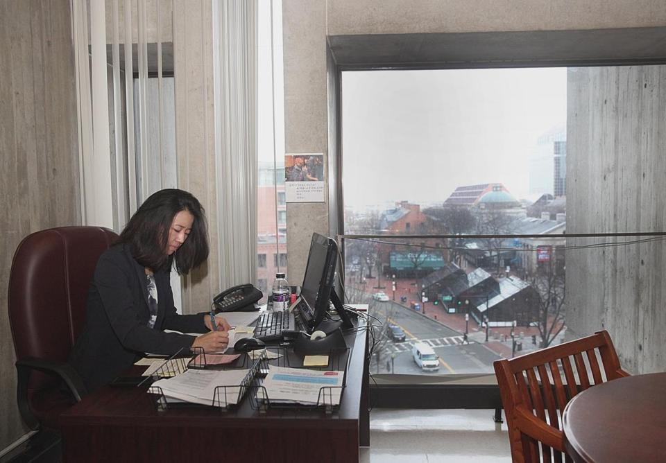 A STELLAR VISTA: City Councilor Michelle Wu worked in her office that overlooks Faneuil Hall. Wu backed Bill Linehan for council president.